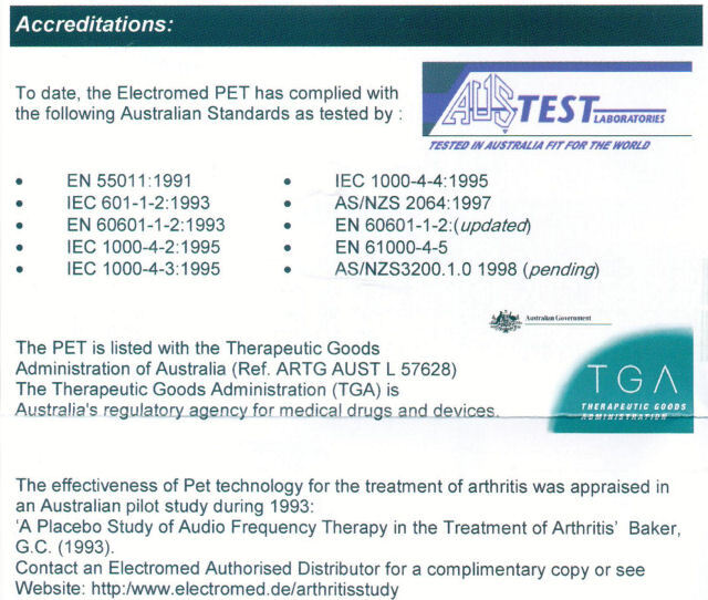 TGA Approval for PET unit made by Electromed